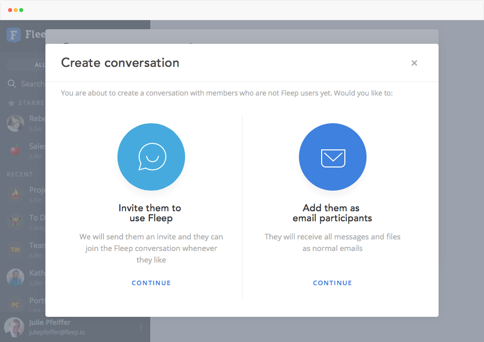 create conversation wih an email contact