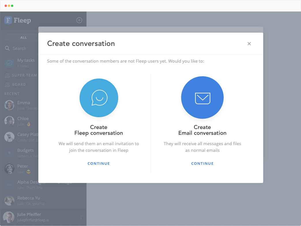 fleep conversation or email conversation