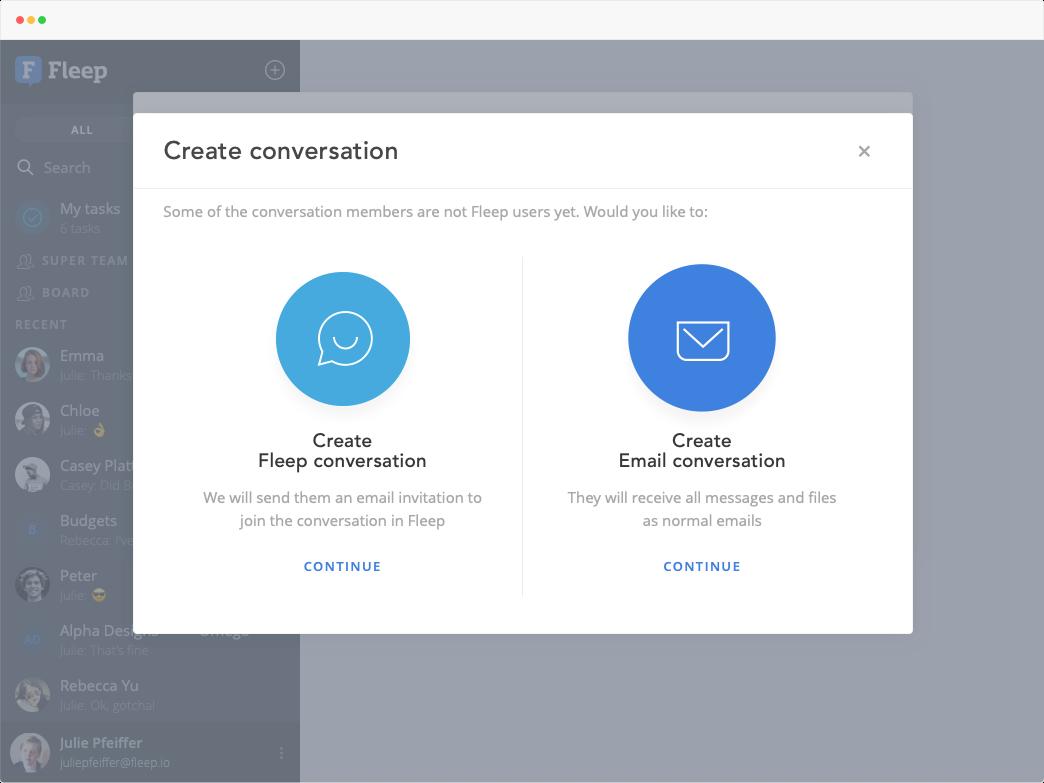 fleep conversation or email conversation