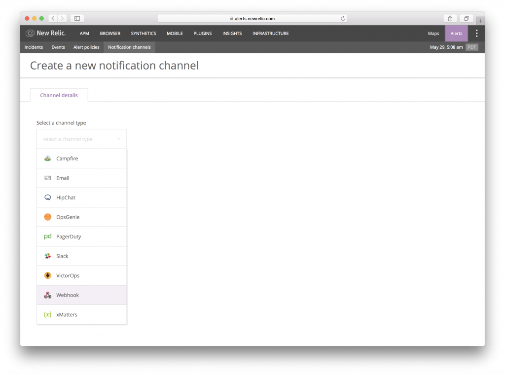 5. select Webhook as channel type