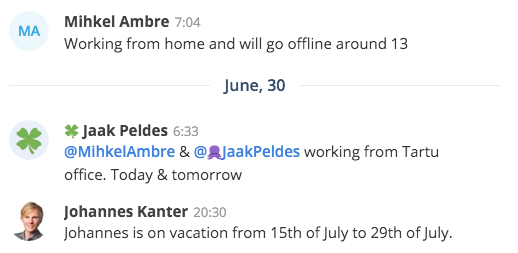 remote work team whereabouts