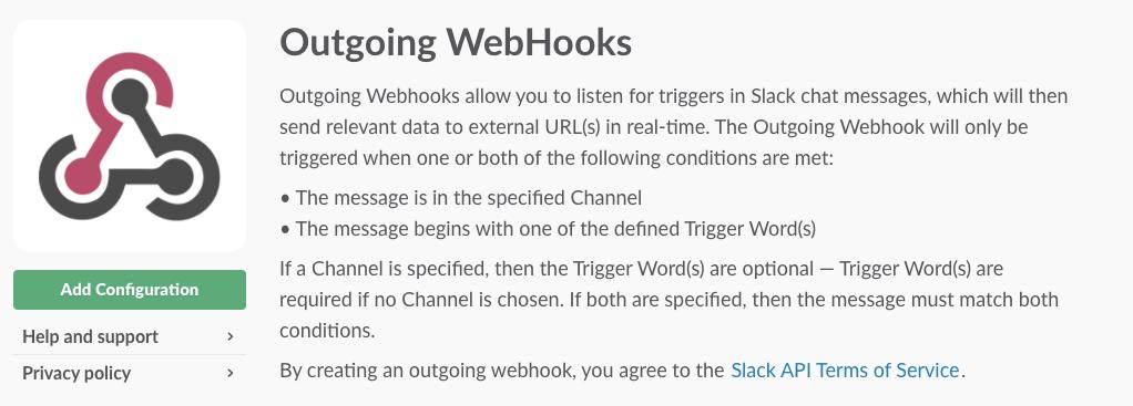 Slack outgoing webhooks
