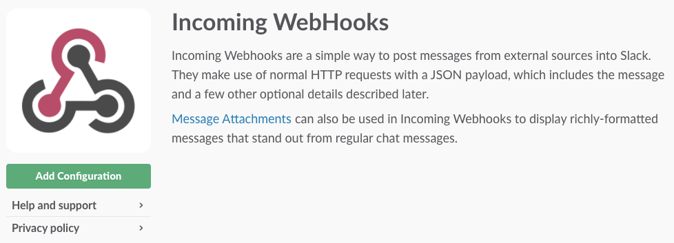 Slack integration via webhook