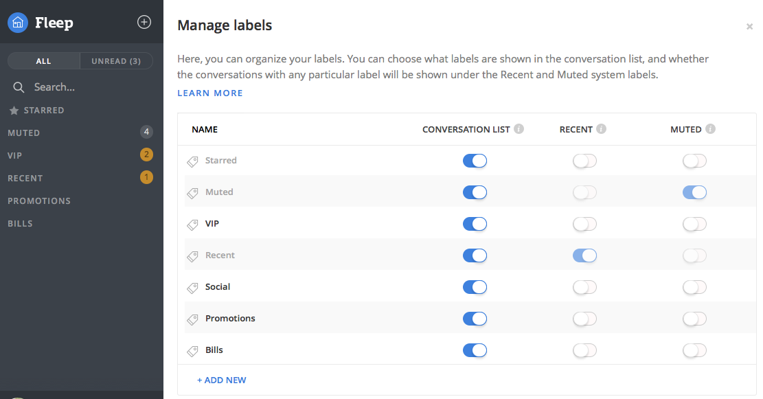 manage labels fleep