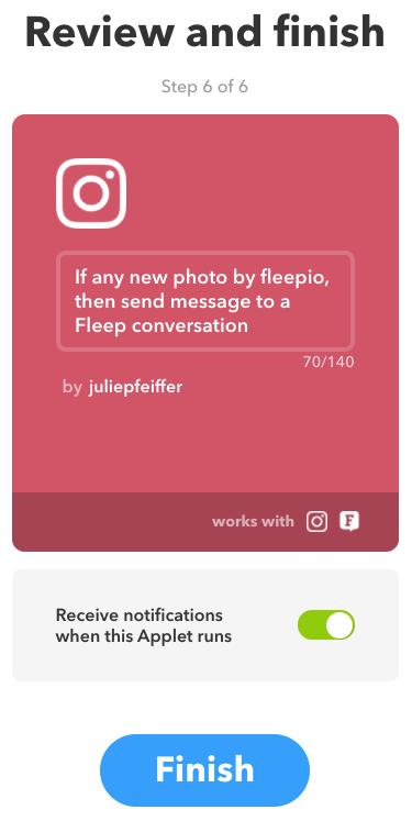 IFTTT finish applet