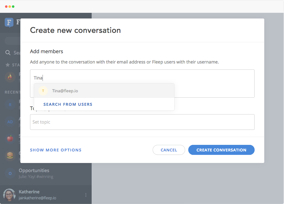create new conversation - search from users