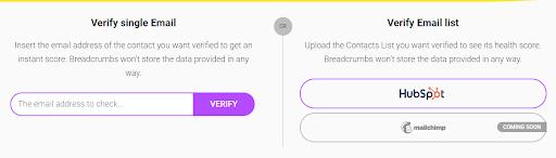 Breadcrumbs' email verifier tool